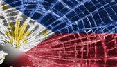 Vetri rotti o ghiaccio con una bandiera, filippine — Foto Stock