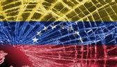 Broken glass or ice with a flag, Venezuela — Stock Photo