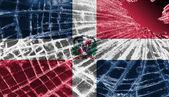 Vetri rotti o ghiaccio con una bandiera, la repubblica dominicana — Foto Stock