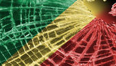 Broken glass or ice with a flag, Republic of the Congo — Stock Photo