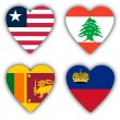 Royalty-Free Stock Photo: Flags in the shape of a heart, coutries