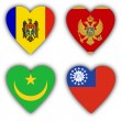 Flags in the shape of a heart, coutries — Stock Photo