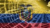 Broken glass or ice with a flag, Ecuador — Stock Photo