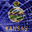 图库照片: Broken glass or ice with flag, Kansas