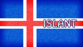 Flag of Iceland stitched with letters — Stock Photo