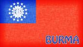 Bandeira de Mianmar, costuradas com letras — Fotografia Stock