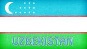 Linen flag of Uzbekistan — Stock Photo