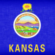 Stock Photo: Linen flag of US state of Kansas