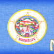 Linen flag of the US state of Minnesota - Stock Photo