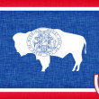 Stock Photo: Linen flag of US state of Wyoming