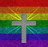 Rainbow flag cross — Stock Photo