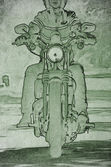 Motorcycle drawing — 图库照片
