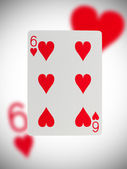 Playing card, six of hearts — Stock Photo