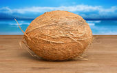Coconut on wood — Stock Photo