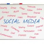 Social media word cloud written on a whiteboard — Stock Photo #25347273