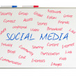 Social media word cloud written on a whiteboard — Stock Photo