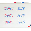 Stock Photo: Calendar (years) written on a whiteboard