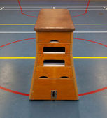 Very old wooden equipment in a school gym — Stock Photo