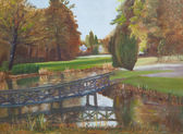 Painting of a wooden bridge — Stock Photo