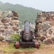 Very old rusted canon on top of an old wall — Stock Photo #30019463