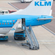 Stock Photo: AMSTERDAM - SEPTEMBER 6: KLM plane is being loaded at Schiphol A