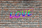 Love word cloud painted with grafitti — Stock Photo