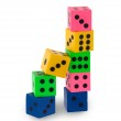 Eight colorfull pensil erasers in the shape of dice — Stock Photo #33746689