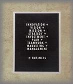 非常に古いメニュー ボード上のプラスチックの文字の中でビジネス コンセプト — ストック写真