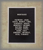 Mortgage concept in plastic letters on very old menu board — Stok fotoğraf