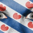 Close up of eyes with flag — Photo