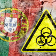 Old cracked wall with biohazard warning sign and painted flag — Stock Photo #36571705