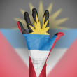 Stock Photo: Palm of womhand, painted with flag