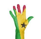 Palm van de hand van een vrouw, geschilderd met vlag — Stockfoto