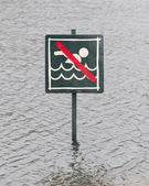 Caution No Swimming allowed — Zdjęcie stockowe