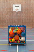 Collection of different balls in a metal cage — ストック写真
