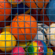Collection of different balls in a metal cage — Stock Photo #41183877