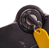 Key of an old motorcycle, selective focus — Stock Photo