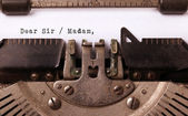 Vintage inscription made by old typewriter — 图库照片