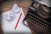 Close-up of an old typewriter with paper — Stock Photo