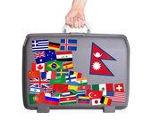 使用されるプラスチック スーツケース ステッカー — ストック写真