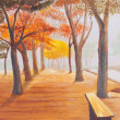 Painting showing beautiful sunny autumn day in a park — Photo