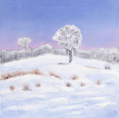 Oil painting of a winter landscape — Stock Photo