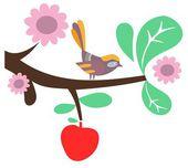 Bird on branch border — Stock Vector