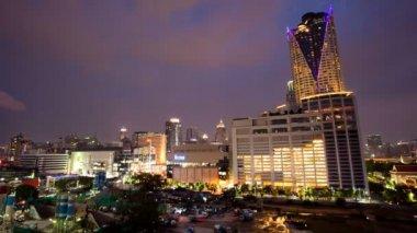 尕-曼谷城市天际线在晚上 — 图库视频影像