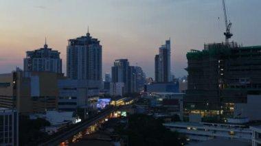时间间隔-曼谷城市天际线日落时 — 图库视频影像