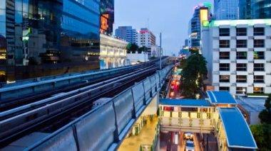 Timelapse - Bangkok Aerial Metro (BTS) at Night — Stock Video