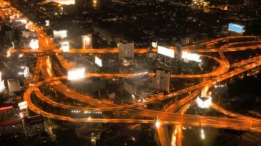Night View of Bangkok highway from Bangkok skyscraper - Thailand