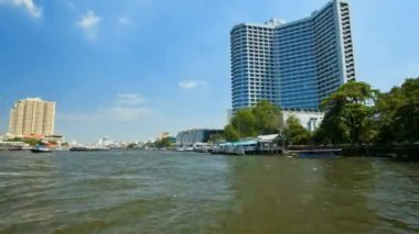 Timelapse - View from Taxi Boat on Chao Phraya river in Bangkok, Thailand — Stock Video