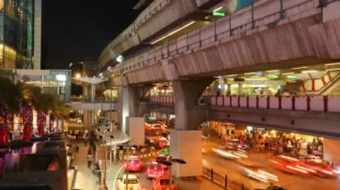 Timelapse - Aerial subway station - Siam BTS Station - Bangkok — Stock Video