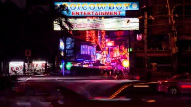 Timelapse - Bangkok red light district — Stock Video